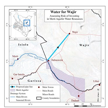 Map of the study area with the Merti aquifer